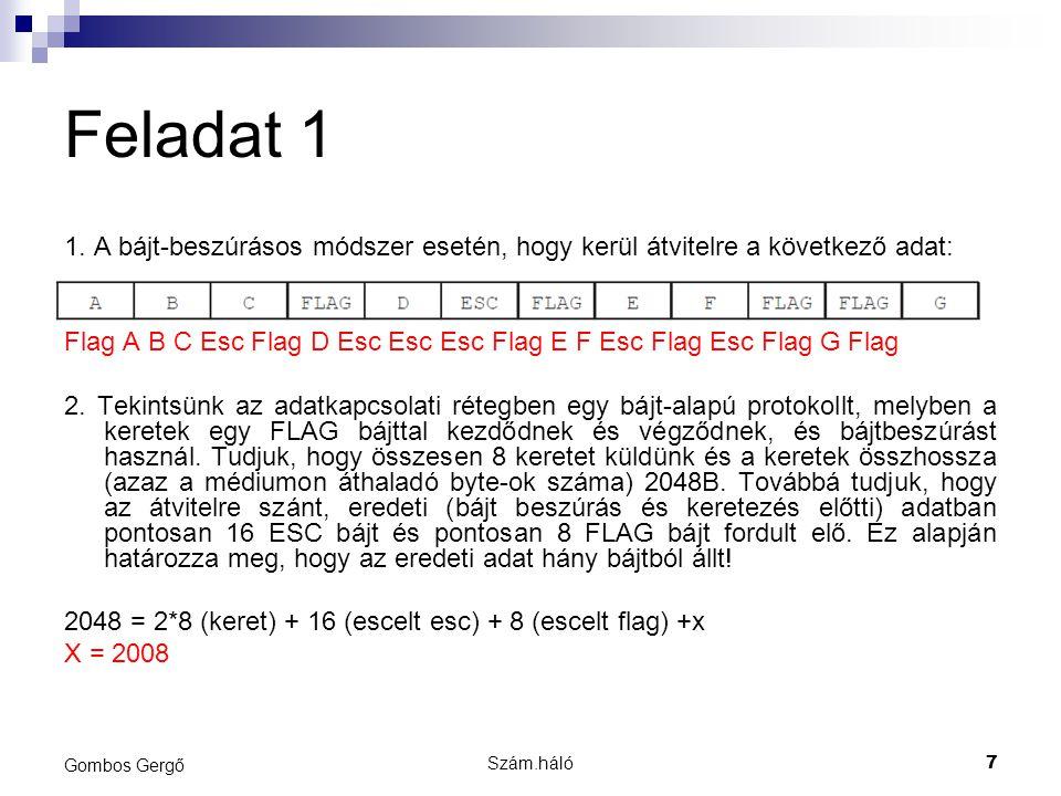 Szám.háló7 Gombos Gergő Feladat 1 1. A bájt-beszúrásos módszer esetén, hogy kerül átvitelre a következő adat: Flag A B C Esc Flag D Esc Esc Esc Flag E