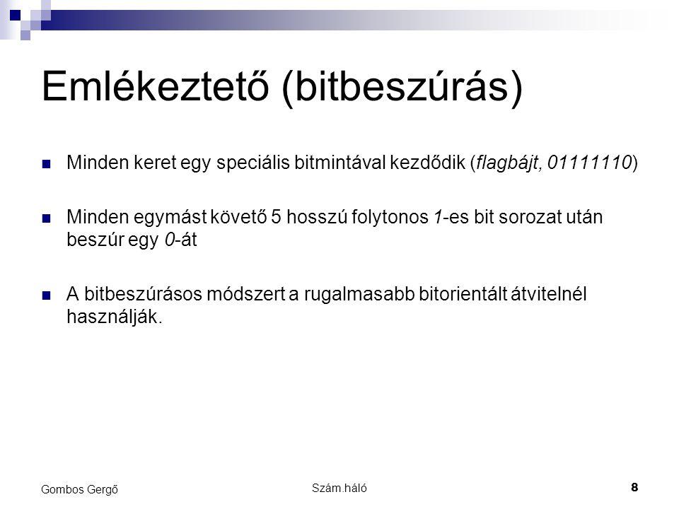 Szám.háló9 Gombos Gergő Feladat 2 Az 111111100110111 üzenet, hogy fog kinézni ezen módszer alkalmazása után?