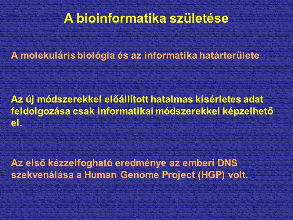 A bioinformatika születése A molekuláris biológia és az informatika határterülete Az új módszerekkel előállított hatalmas kísérletes adat feldolgozása