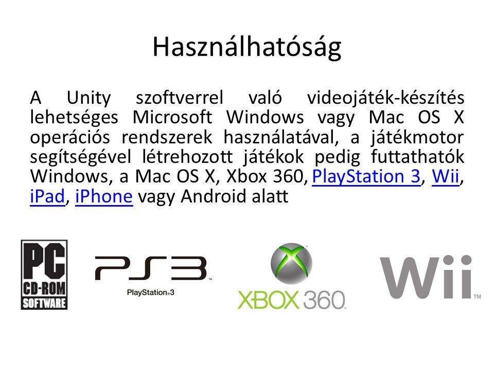 Használhatóság A Unity szoftverrel való videojáték-készítés lehetséges Microsoft Windows vagy Mac OS X operációs rendszerek használatával, a játékmoto