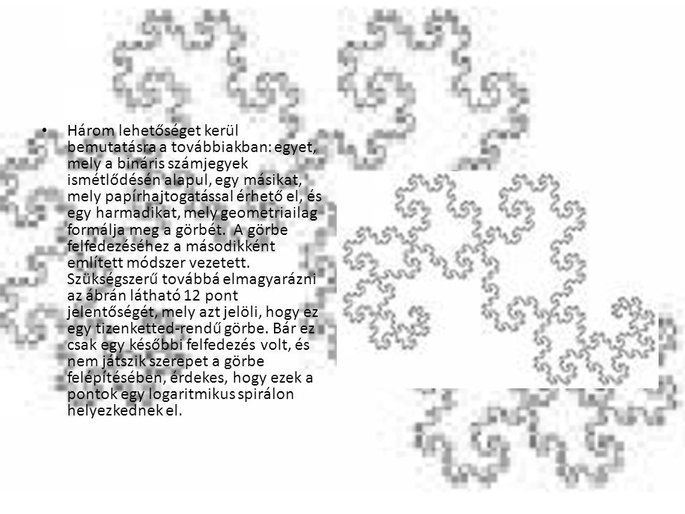 Mindegyik Dragon-görbe előállítható a bináris számjegyek ismétlődésének megjelenítéséből.