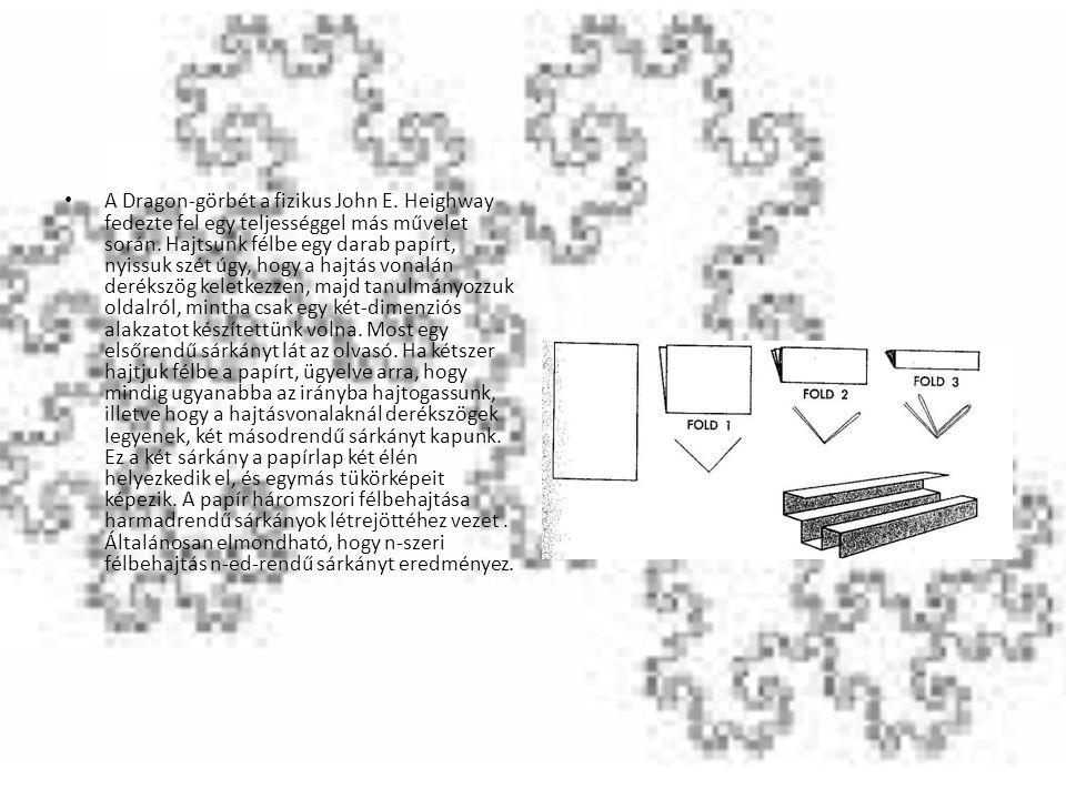 A Dragon-görbét a fizikus John E. Heighway fedezte fel egy teljességgel más művelet során. Hajtsunk félbe egy darab papírt, nyissuk szét úgy, hogy a h