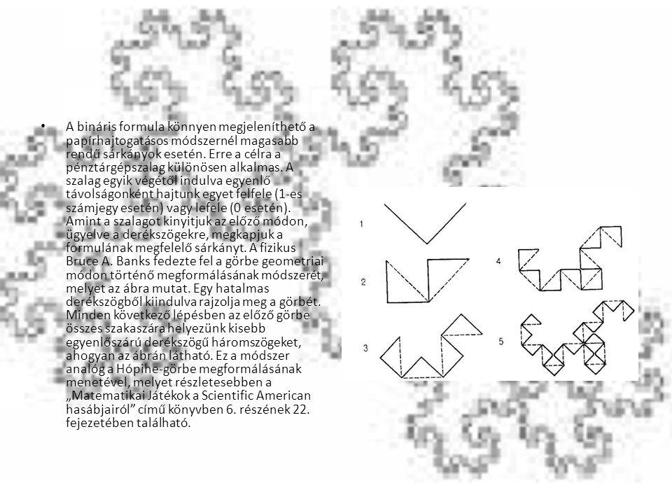 A bináris formula könnyen megjeleníthető a papírhajtogatásos módszernél magasabb rendű sárkányok esetén. Erre a célra a pénztárgépszalag különösen alk