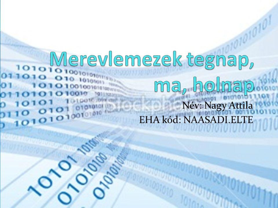 Merevlemez Általában minden számítógépben megtalálható adattároló eszköz a merevlemez.