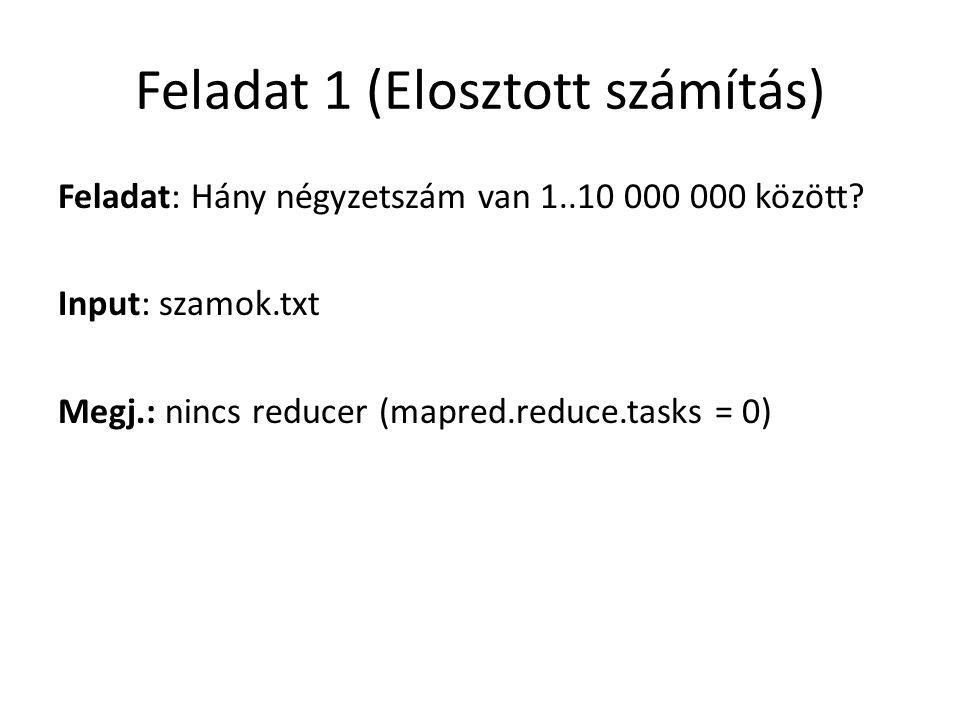 Feladat 1 (Elosztott számítás) Feladat: Hány négyzetszám van 1..10 000 000 között.