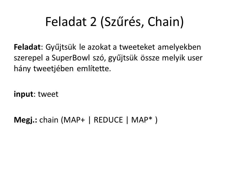 Feladat 2 (Szűrés, Chain) Feladat: Gyűjtsük le azokat a tweeteket amelyekben szerepel a SuperBowl szó, gyűjtsük össze melyik user hány tweetjében említette.