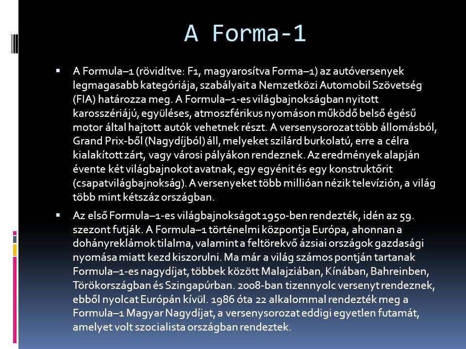 A Forma-1  A Formula–1 (rövidítve: F1, magyarosítva Forma–1) az autóversenyek legmagasabb kategóriája, szabályait a Nemzetközi Automobil Szövetség (FIA) határozza meg.
