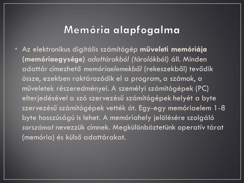 Az elektronikus digitális számítógép műveleti memóriája (memóriaegysége) adattárakból (tárolókból) áll. Minden adattár címezhető memóriaelemekből (rek