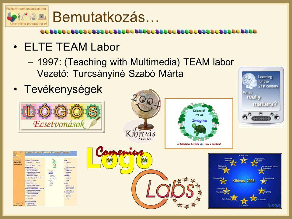 Bemutatkozás… ELTE TEAM Labor –1997: (Teaching with Multimedia) TEAM labor Vezető: Turcsányiné Szabó Márta Tevékenységek