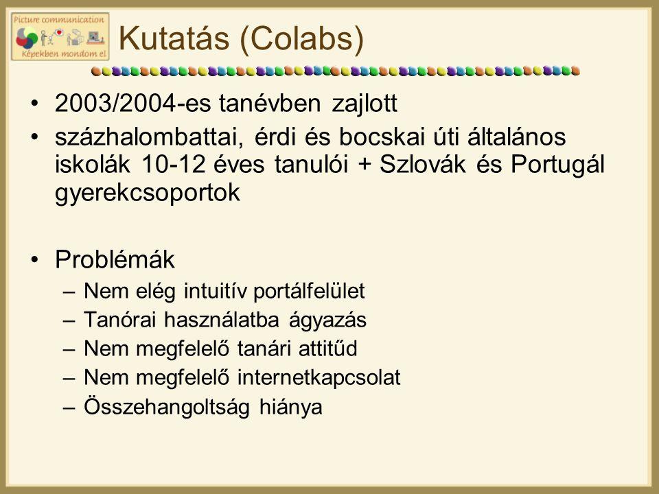 Kutatás (Colabs) 2003/2004-es tanévben zajlott százhalombattai, érdi és bocskai úti általános iskolák 10-12 éves tanulói + Szlovák és Portugál gyerekcsoportok Problémák –Nem elég intuitív portálfelület –Tanórai használatba ágyazás –Nem megfelelő tanári attitűd –Nem megfelelő internetkapcsolat –Összehangoltság hiánya