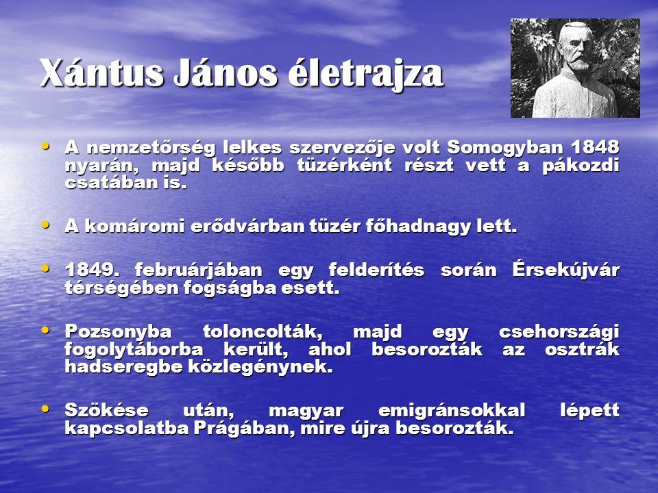 Xántus János életrajza A nemzetőrség lelkes szervezője volt Somogyban 1848 nyarán, majd később tüzérként részt vett a pákozdi csatában is.