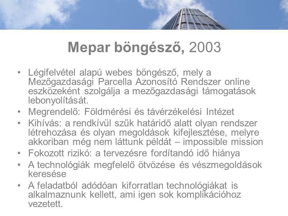 Mepar böngésző, 2003 Légifelvétel alapú webes böngésző, mely a Mezőgazdasági Parcella Azonosító Rendszer online eszközeként szolgálja a mezőgazdasági támogatások lebonyolítását.