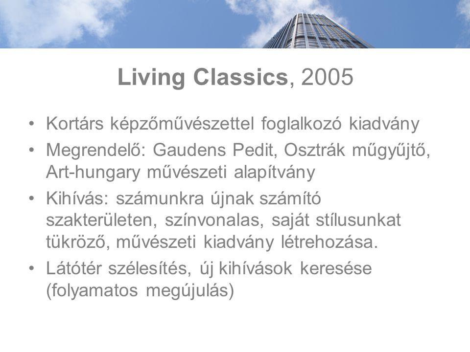 Living Classics, 2005 Kortárs képzőművészettel foglalkozó kiadvány Megrendelő: Gaudens Pedit, Osztrák műgyűjtő, Art-hungary művészeti alapítvány Kihívás: számunkra újnak számító szakterületen, színvonalas, saját stílusunkat tükröző, művészeti kiadvány létrehozása.