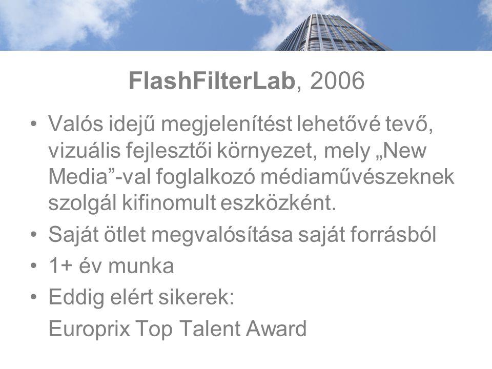 """FlashFilterLab, 2006 Valós idejű megjelenítést lehetővé tevő, vizuális fejlesztői környezet, mely """"New Media -val foglalkozó médiaművészeknek szolgál kifinomult eszközként."""