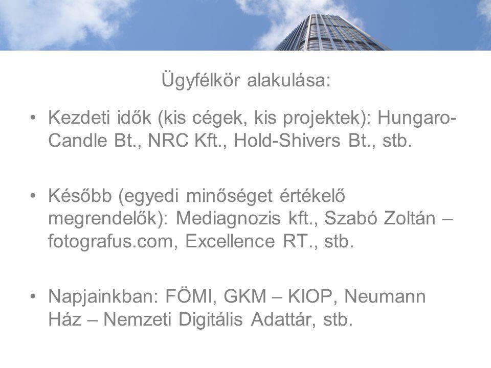 Ügyfélkör alakulása: Kezdeti idők (kis cégek, kis projektek): Hungaro- Candle Bt., NRC Kft., Hold-Shivers Bt., stb.