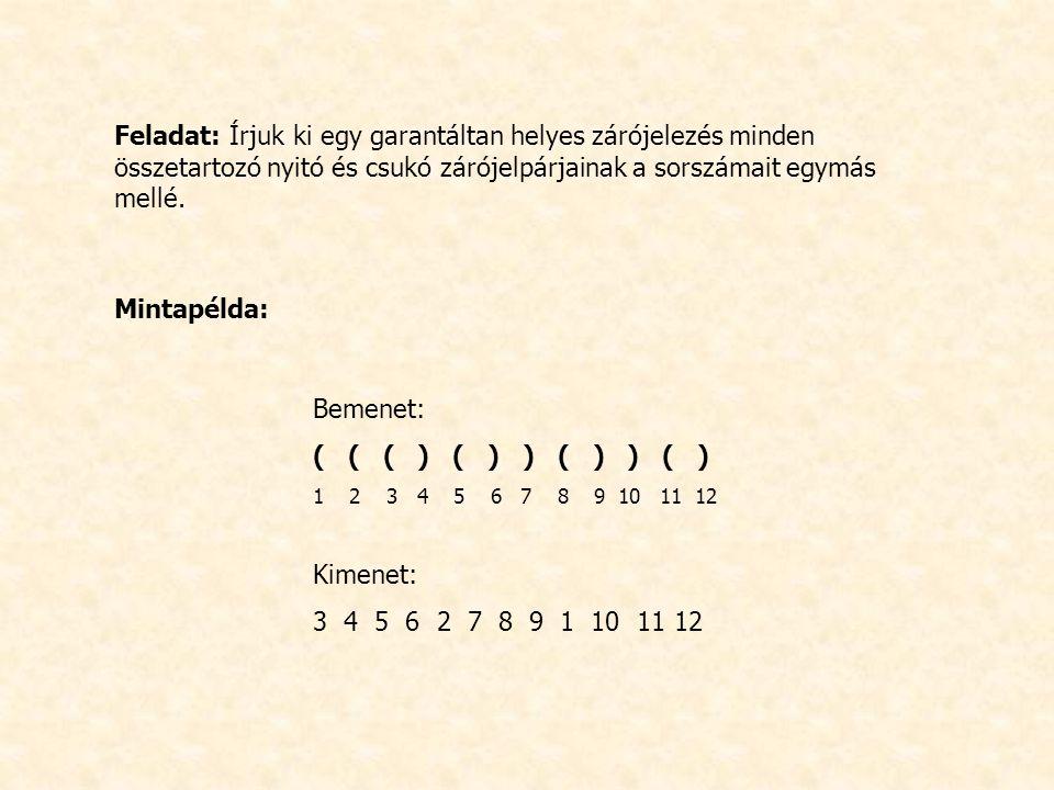 Feladat: Írjuk ki egy garantáltan helyes zárójelezés minden összetartozó nyitó és csukó zárójelpárjainak a sorszámait egymás mellé.