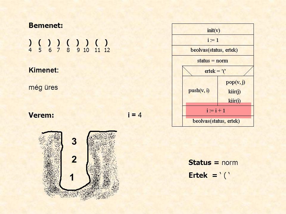 Bemenet: ) ( ) ) ( ) ) ( ) 4 5 6 7 8 9 10 11 12 Kimenet: még üres Verem: i = 4 Status = norm Ertek = ' ( ' 1 2 3
