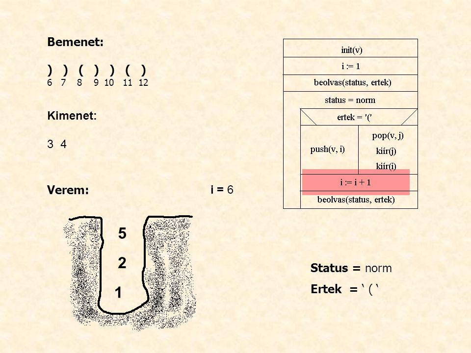 Bemenet: ) ) ( ) ) ( ) 6 7 8 9 10 11 12 Kimenet: 3 4 Verem: i = 6 Status = norm Ertek = ' ( ' 1 2 5
