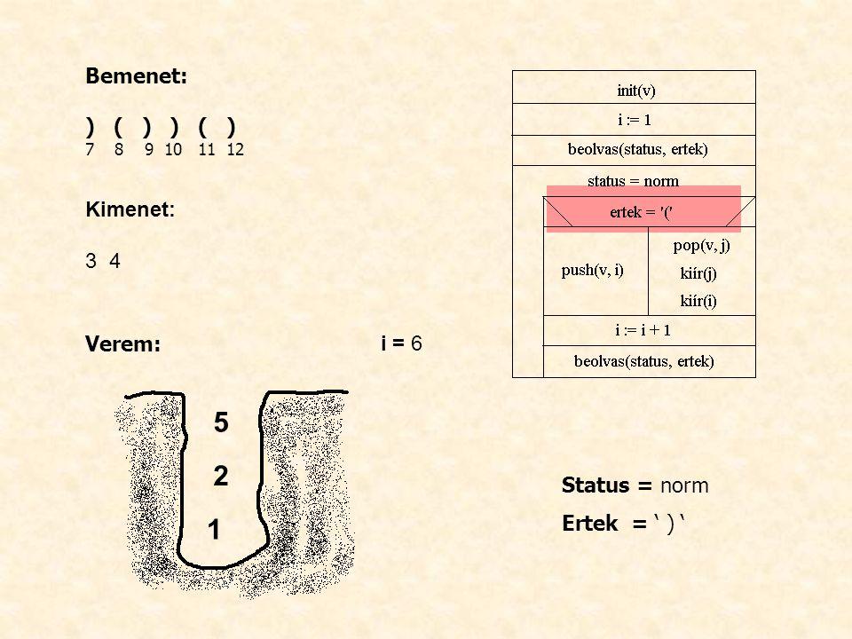 Bemenet: ) ( ) 7 8 9 10 11 12 Kimenet: 3 4 Verem: i = 6 Status = norm Ertek = ' ) ' 1 2 5