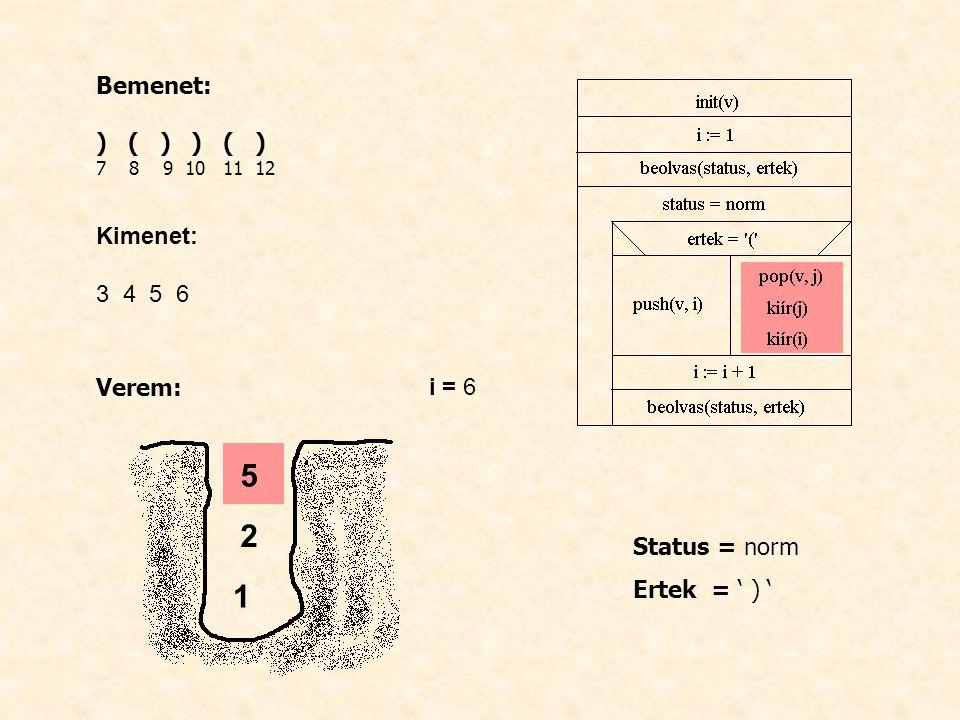 Bemenet: ) ( ) 7 8 9 10 11 12 Kimenet: 3 4 5 6 Verem: i = 6 Status = norm Ertek = ' ) ' 1 2 5