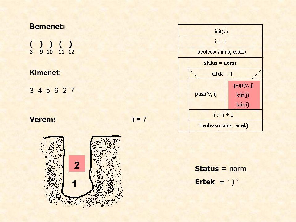 Bemenet: ( ) ) ( ) 8 9 10 11 12 Kimenet: 3 4 5 6 2 7 Verem: i = 7 Status = norm Ertek = ' ) ' 1 2
