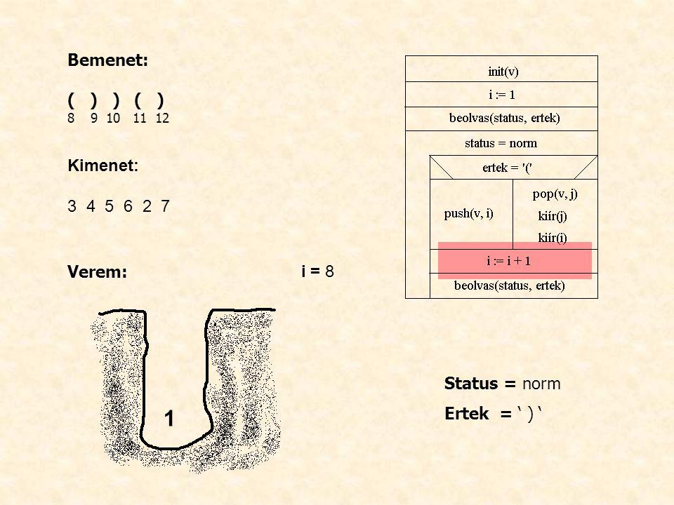 Bemenet: ( ) ) ( ) 8 9 10 11 12 Kimenet: 3 4 5 6 2 7 Verem: i = 8 Status = norm Ertek = ' ) ' 1