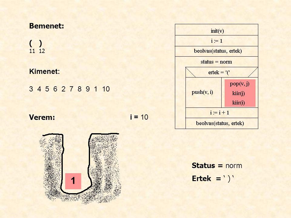 Bemenet: ( ) 11 12 Kimenet: 3 4 5 6 2 7 8 9 1 10 Verem: i = 10 Status = norm Ertek = ' ) ' 1