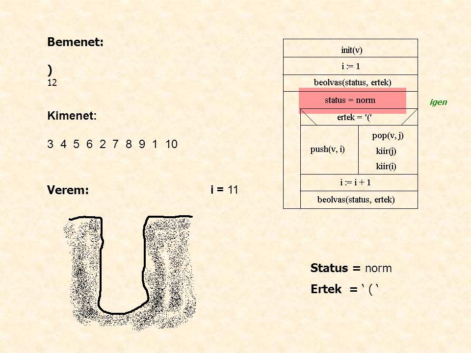 Bemenet: ) 12 Kimenet: 3 4 5 6 2 7 8 9 1 10 Verem: i = 11 Status = norm Ertek = ' ( ' igen