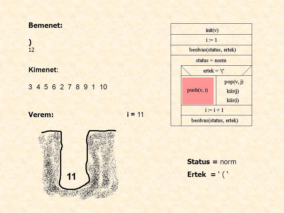 Bemenet: ) 12 Kimenet: 3 4 5 6 2 7 8 9 1 10 Verem: i = 11 Status = norm Ertek = ' ( ' 11
