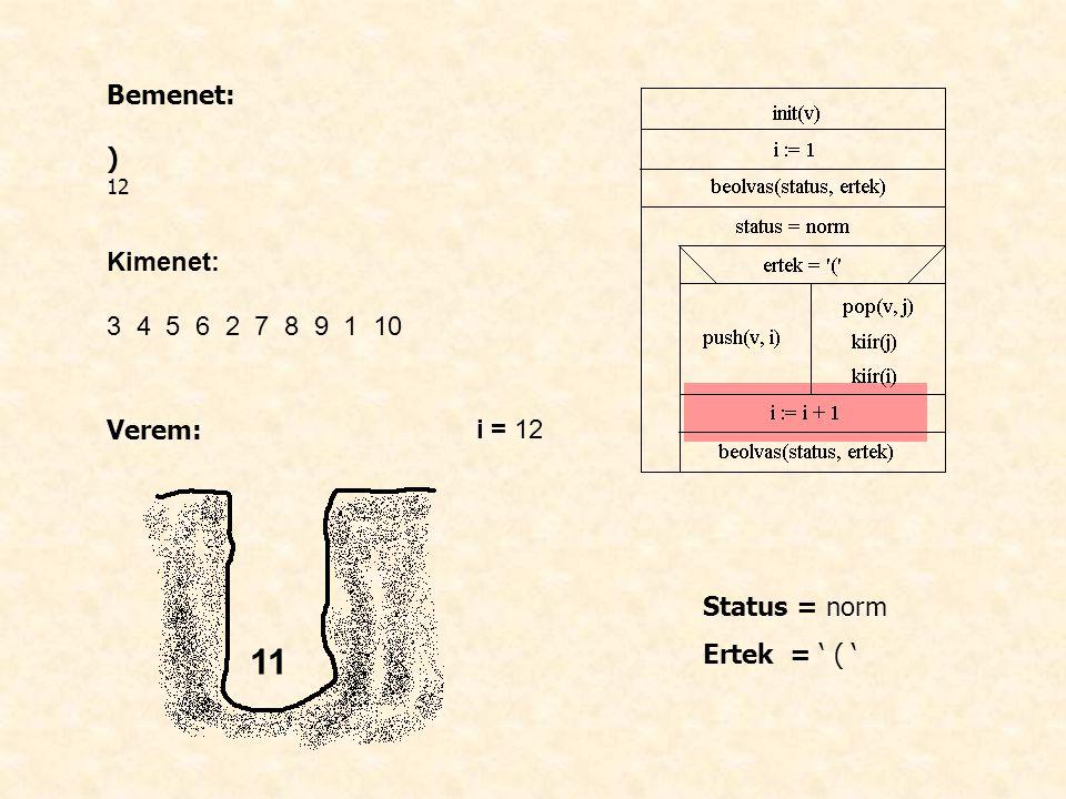 Bemenet: ) 12 Kimenet: 3 4 5 6 2 7 8 9 1 10 Verem: i = 12 Status = norm Ertek = ' ( ' 11
