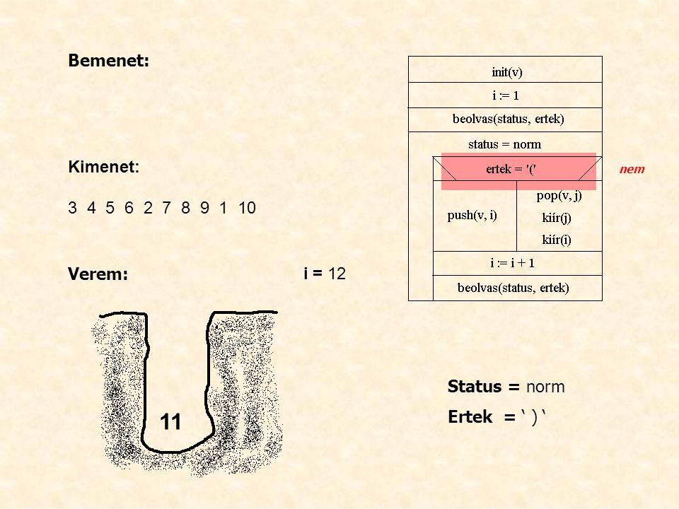 Bemenet: Kimenet: 3 4 5 6 2 7 8 9 1 10 Verem: i = 12 Status = norm Ertek = ' ) ' nem 11