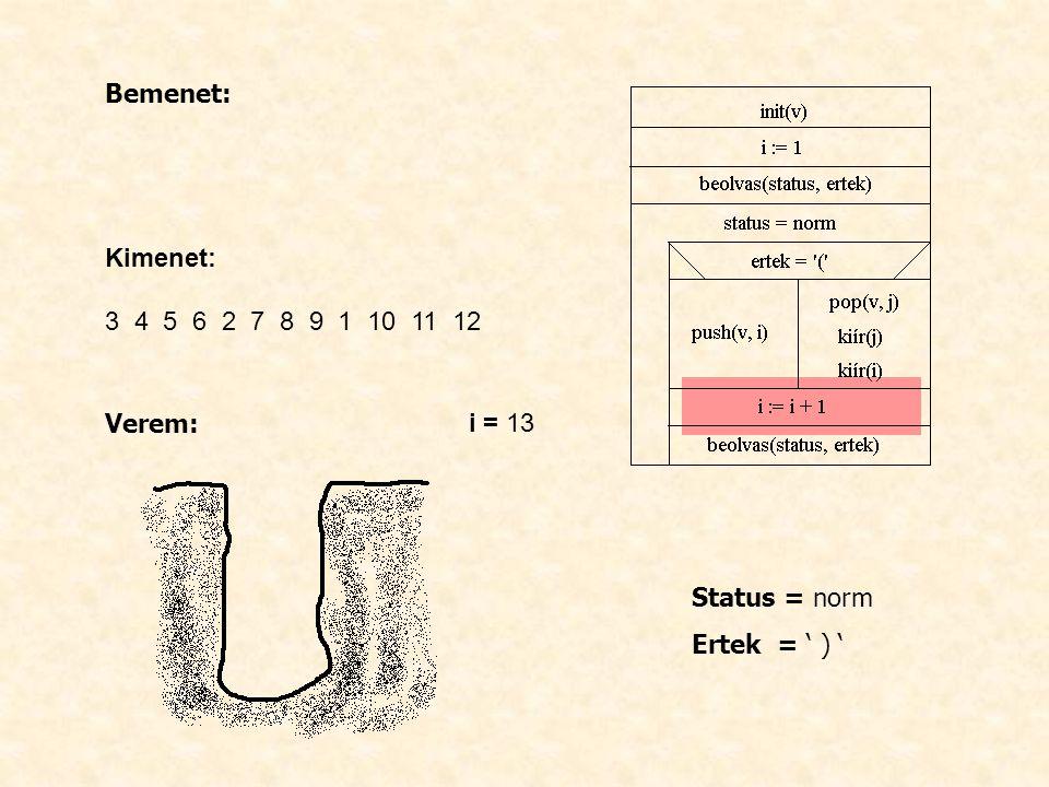 Bemenet: Kimenet: 3 4 5 6 2 7 8 9 1 10 11 12 Verem: i = 13 Status = norm Ertek = ' ) '
