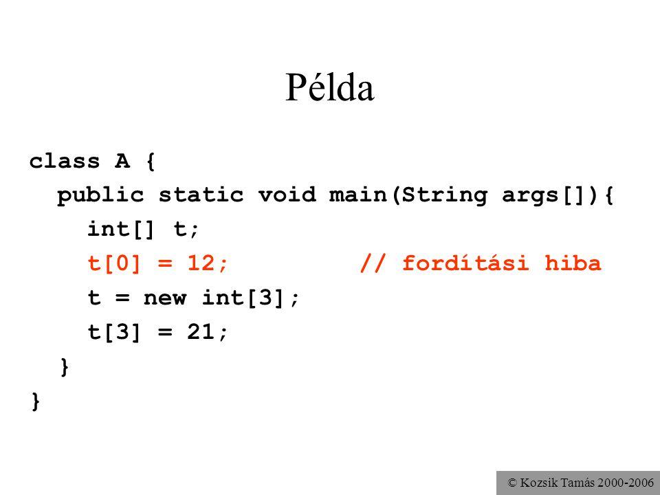 © Kozsik Tamás 2000-2006 Példa class A { public static void main(String args[]){ int[] t; t[0] = 12; // fordítási hiba t = new int[3]; t[3] = 21; }