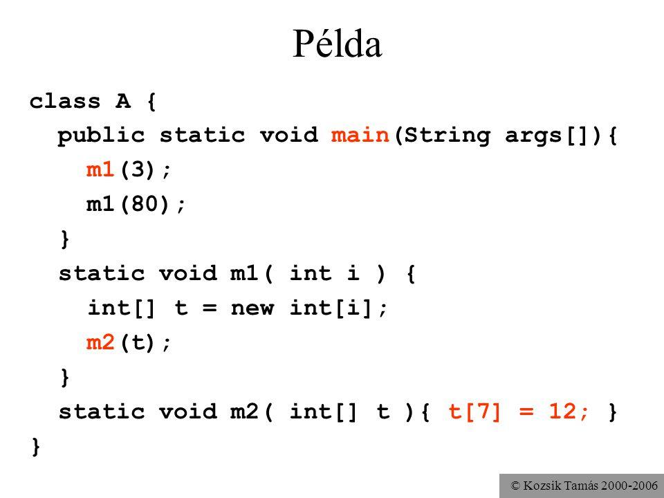 © Kozsik Tamás 2000-2006 Példa class A { public static void main(String args[]){ m1(3); m1(80); } static void m1( int i ) { int[] t = new int[i]; m2(t); } static void m2( int[] t ){ t[7] = 12; } }