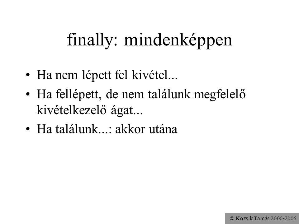© Kozsik Tamás 2000-2006 finally: mindenképpen Ha nem lépett fel kivétel...