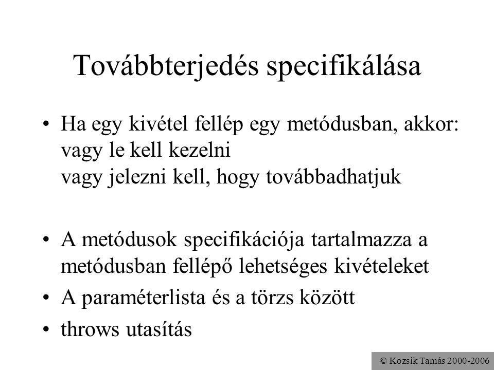 © Kozsik Tamás 2000-2006 Továbbterjedés specifikálása Ha egy kivétel fellép egy metódusban, akkor: vagy le kell kezelni vagy jelezni kell, hogy továbbadhatjuk A metódusok specifikációja tartalmazza a metódusban fellépő lehetséges kivételeket A paraméterlista és a törzs között throws utasítás
