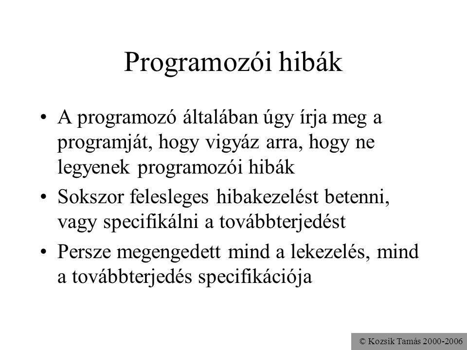 © Kozsik Tamás 2000-2006 Programozói hibák A programozó általában úgy írja meg a programját, hogy vigyáz arra, hogy ne legyenek programozói hibák Sokszor felesleges hibakezelést betenni, vagy specifikálni a továbbterjedést Persze megengedett mind a lekezelés, mind a továbbterjedés specifikációja