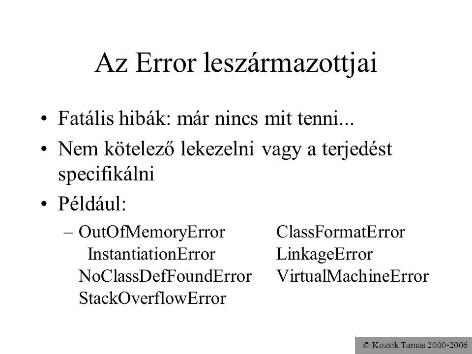 © Kozsik Tamás 2000-2006 Az Error leszármazottjai Fatális hibák: már nincs mit tenni... Nem kötelező lekezelni vagy a terjedést specifikálni Például: