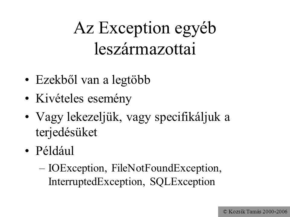 © Kozsik Tamás 2000-2006 Az Exception egyéb leszármazottai Ezekből van a legtöbb Kivételes esemény Vagy lekezeljük, vagy specifikáljuk a terjedésüket Például –IOException, FileNotFoundException, InterruptedException, SQLException