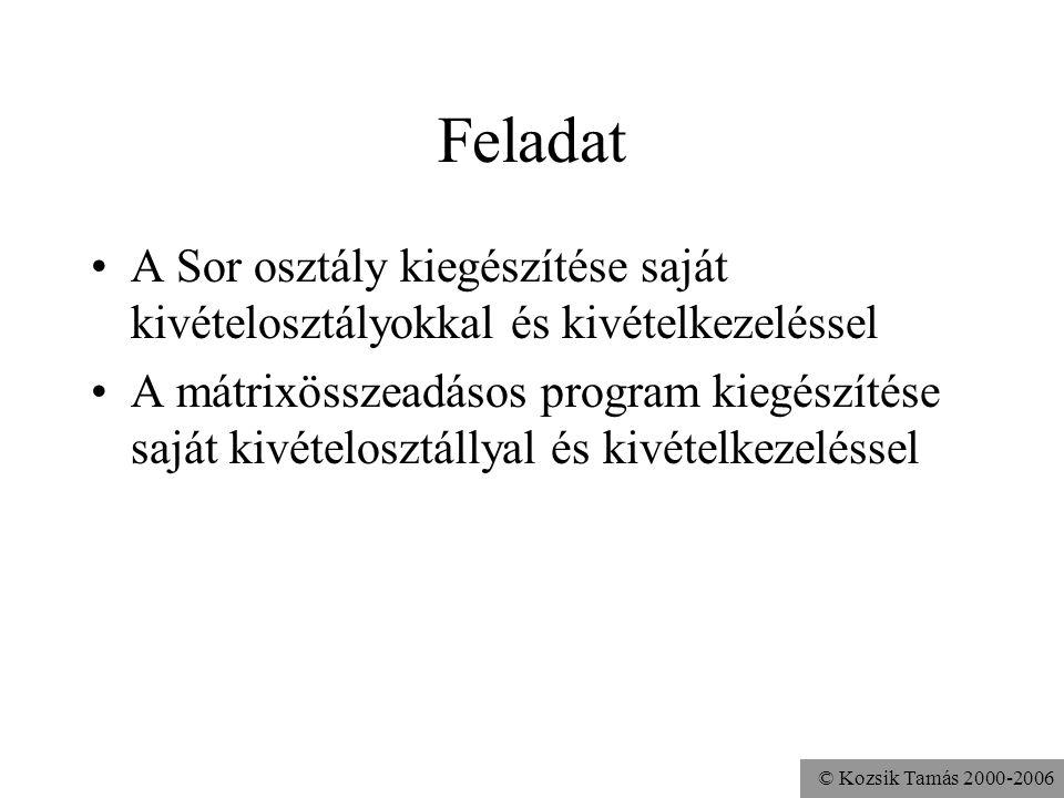 © Kozsik Tamás 2000-2006 Feladat A Sor osztály kiegészítése saját kivételosztályokkal és kivételkezeléssel A mátrixösszeadásos program kiegészítése sa
