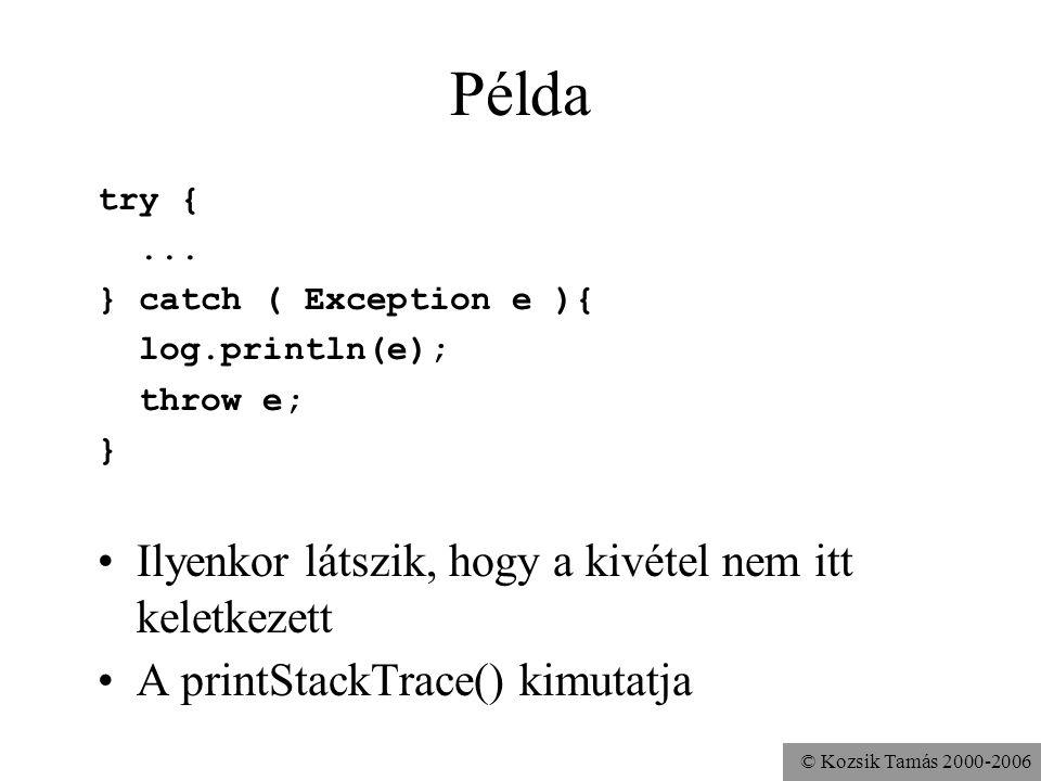 © Kozsik Tamás 2000-2006 Példa try {... } catch ( Exception e ){ log.println(e); throw e; } Ilyenkor látszik, hogy a kivétel nem itt keletkezett A pri