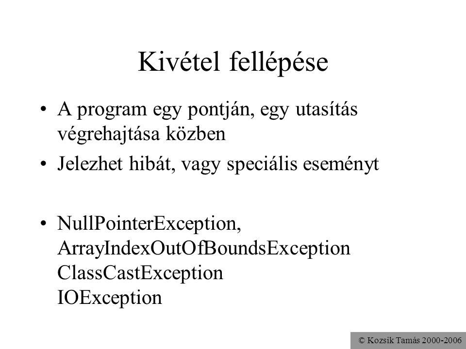© Kozsik Tamás 2000-2006 Kivétel fellépése A program egy pontján, egy utasítás végrehajtása közben Jelezhet hibát, vagy speciális eseményt NullPointerException, ArrayIndexOutOfBoundsException ClassCastException IOException