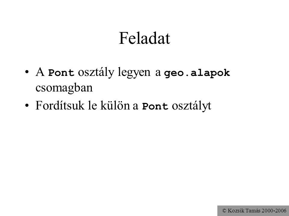 © Kozsik Tamás 2000-2006 Feladat A Pont osztály legyen a geo.alapok csomagban Fordítsuk le külön a Pont osztályt