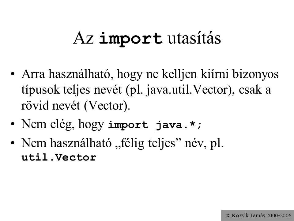 © Kozsik Tamás 2000-2006 Az import utasítás Arra használható, hogy ne kelljen kiírni bizonyos típusok teljes nevét (pl.