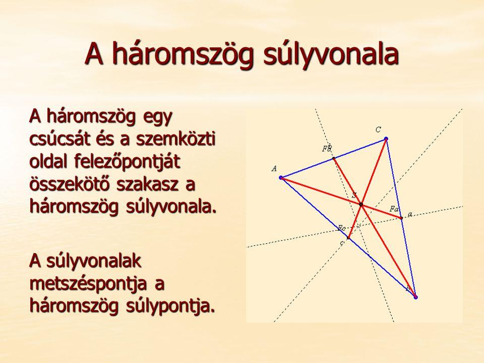 A háromszög súlyvonala A háromszög egy csúcsát és a szemközti oldal felezőpontját összekötő szakasz a háromszög súlyvonala. A súlyvonalak metszéspontj