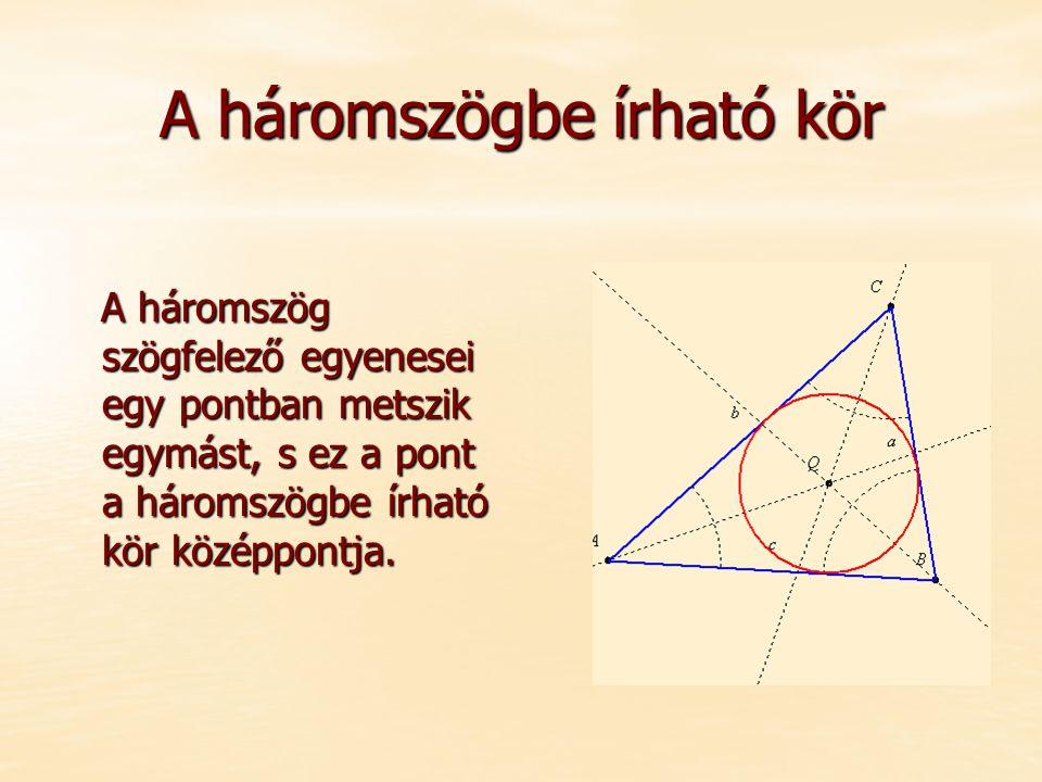 A háromszögbe írható kör A háromszög szögfelező egyenesei egy pontban metszik egymást, s ez a pont a háromszögbe írható kör középpontja.