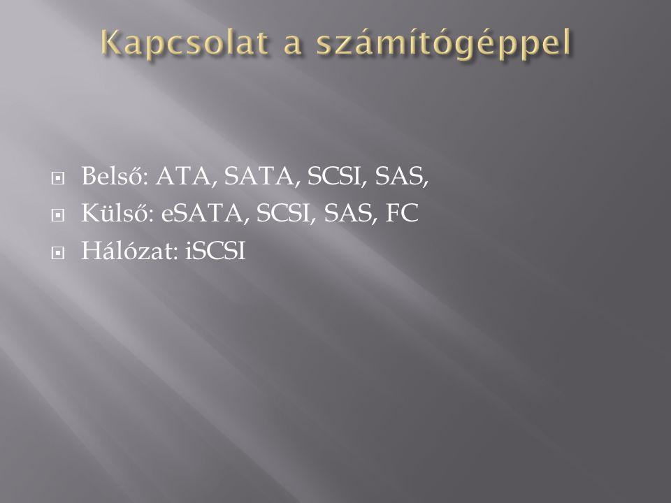  Belső: ATA, SATA, SCSI, SAS,  Külső: eSATA, SCSI, SAS, FC  Hálózat: iSCSI