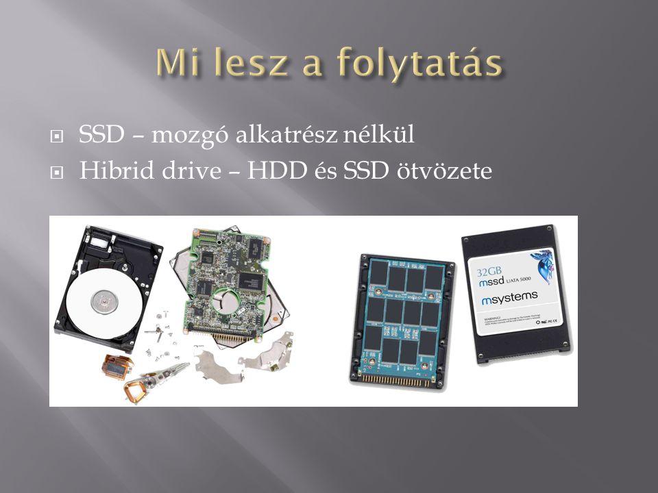  SSD – mozgó alkatrész nélkül  Hibrid drive – HDD és SSD ötvözete