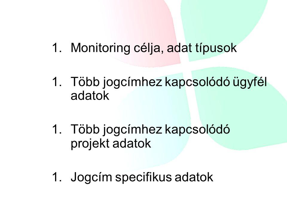1. 1.Monitoring célja, adat típusok 1. 1.Több jogcímhez kapcsolódó ügyfél adatok 1. 1.Több jogcímhez kapcsolódó projekt adatok 1. 1.Jogcím specifikus
