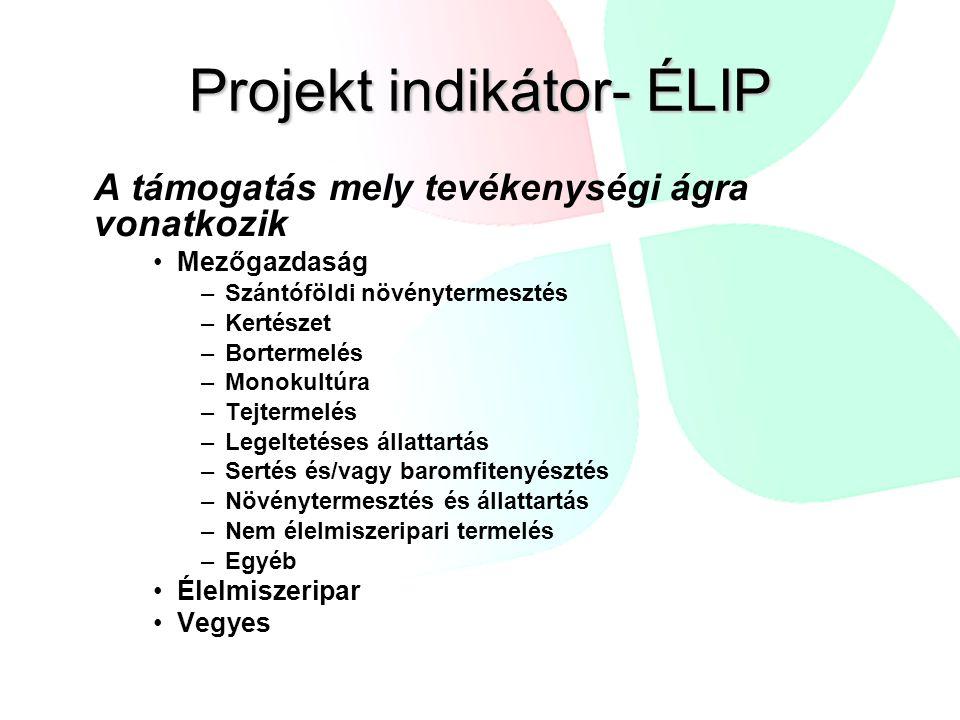 Projekt indikátor- ÉLIP A támogatás mely tevékenységi ágra vonatkozik Mezőgazdaság –Szántóföldi növénytermesztés –Kertészet –Bortermelés –Monokultúra